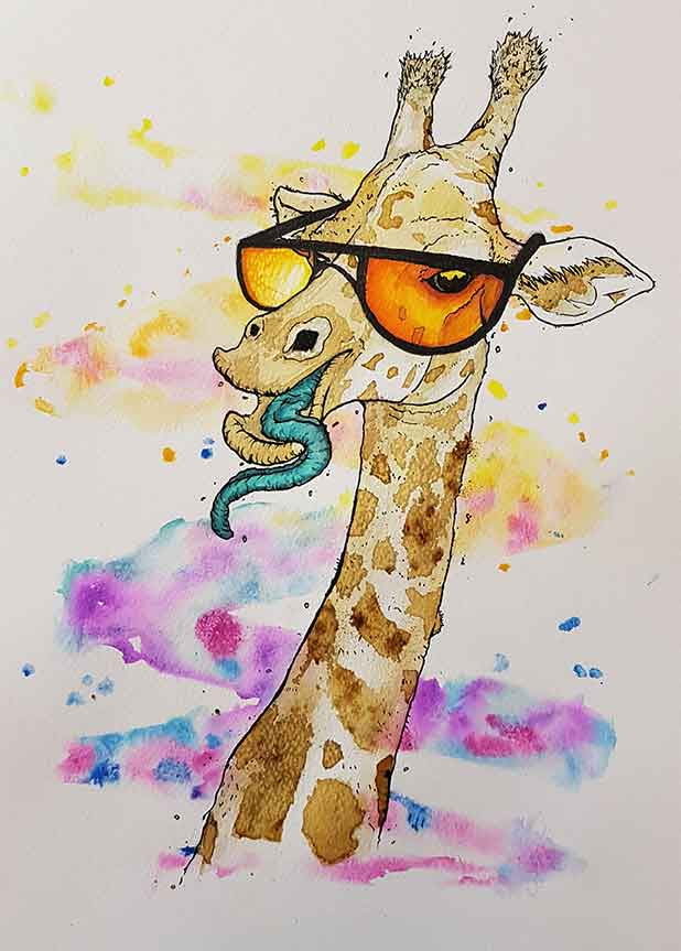 Water colour painting of a giraffe wearing sun glasses, painted by artist Zesta