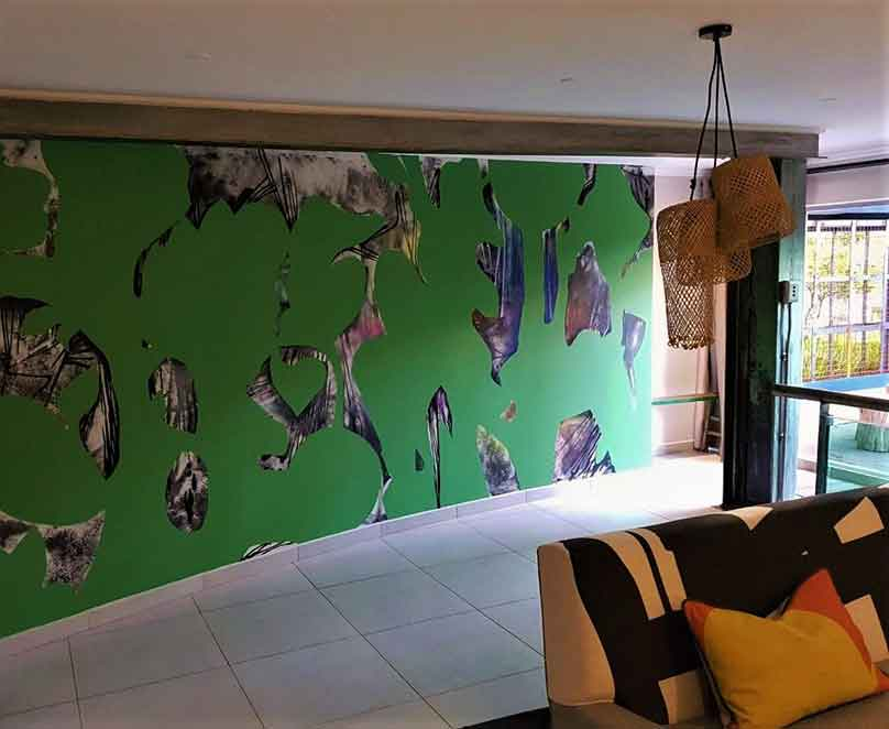 Abrstract floral wall art mural painted indoors by Page 33
