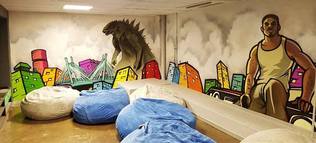 games room mural godzilla urban city scape skyline gta characters graffiti unity murals