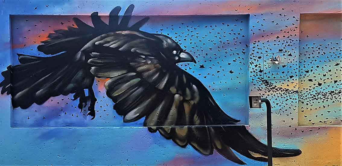 street art mural painting of a crow flying with a flock of birds swarming in the background