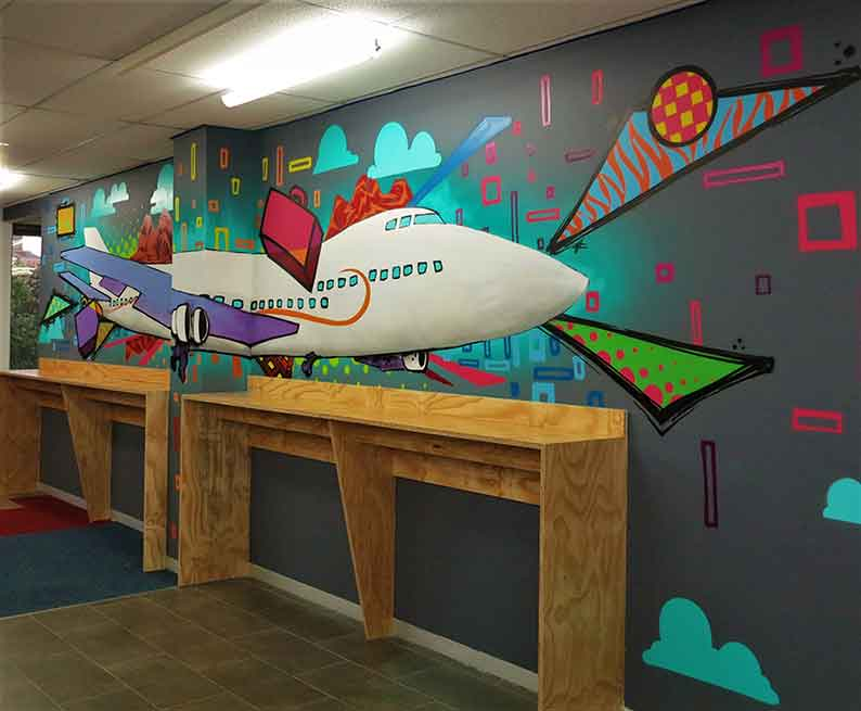 office mural airplane patterns shapes and colours, interior design wall art
