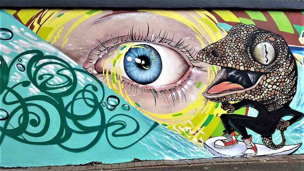 street art mural close up eye and surfing lizard wearing read converse on a surfboard