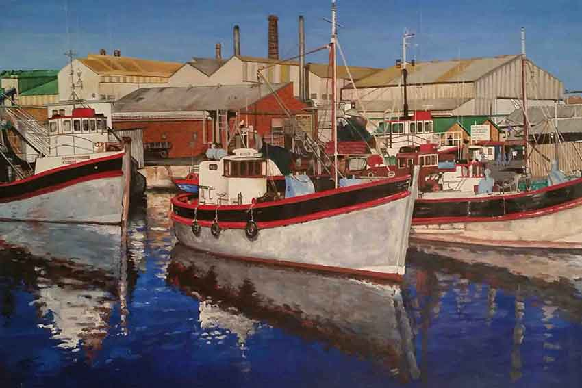 painting of boats at harbour, realistic painting acrylic on canvas