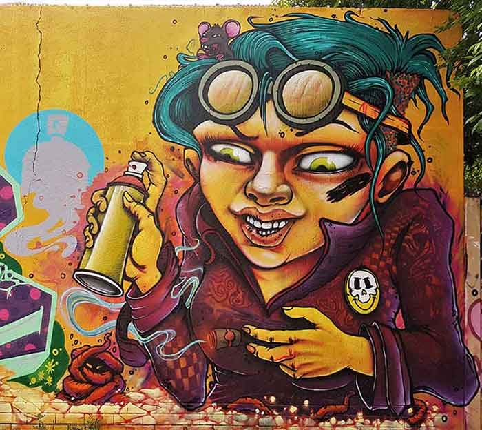 Street art mural tank girl style female character steampunk and spraypaint
