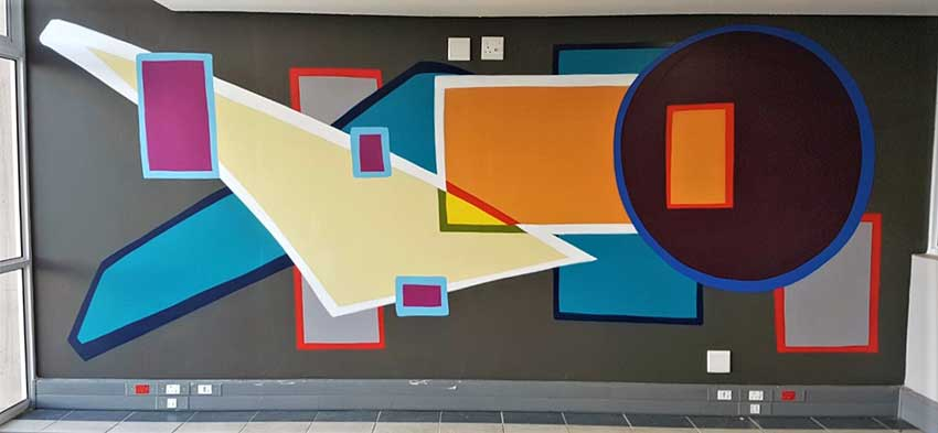 Abstract wall art mural indoors spraypaint mural