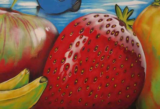 fruit shop wall art mural close up giant strawberry and other fruit