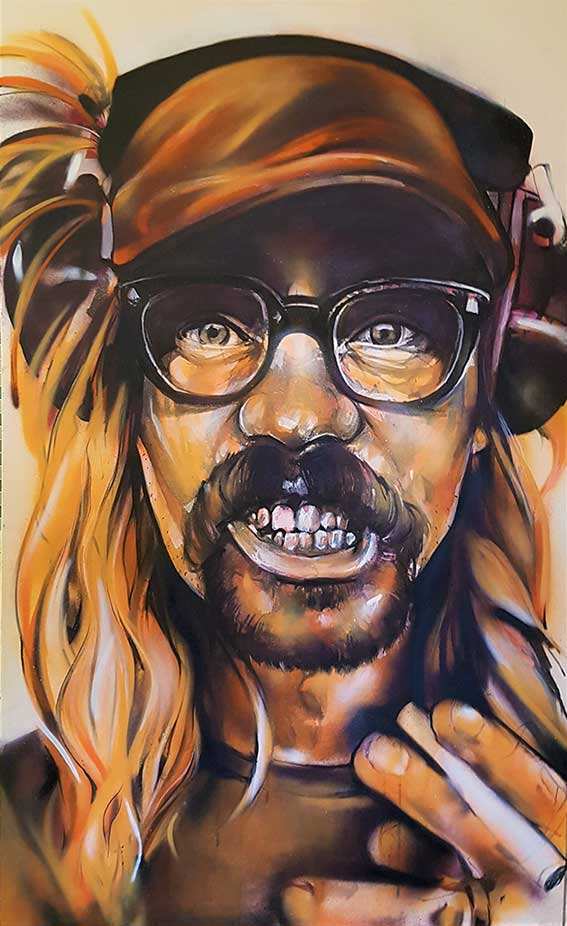 orange portrait canvas of man wearing glasses and earphones and a hat with a cigarette in his hand