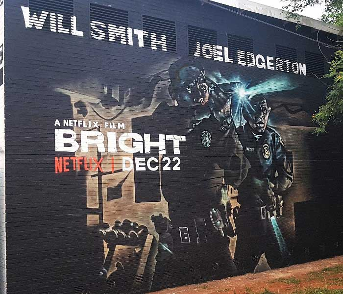 Netflix bright graffiti murals, will smith movie post painted mural advert