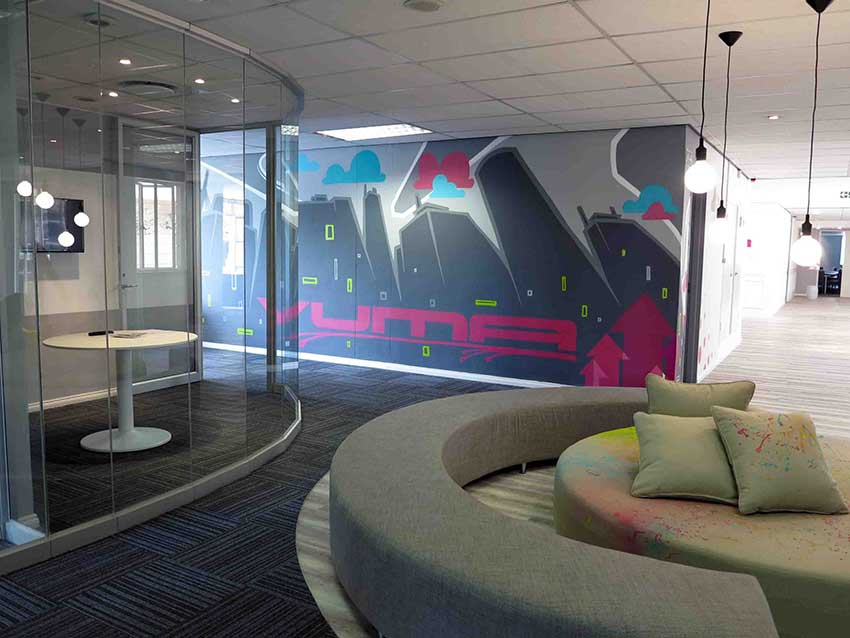 office wall art mural for vumatel head office, office mural and meeting room with couch in waiting area, interior design