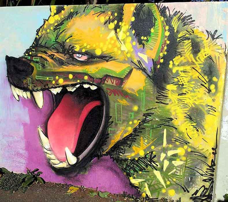 laughing hyena graffiti wall art mural street art