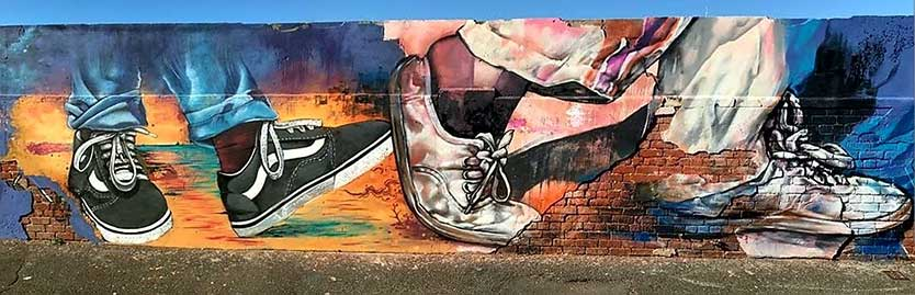 street art painting, close up of shoes walking, vans shoes, kaapse klopse