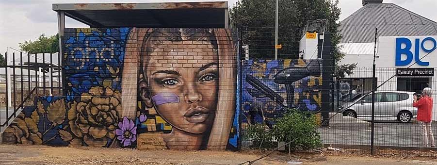 street art painting ghd blohairdressing female portrait ghd model