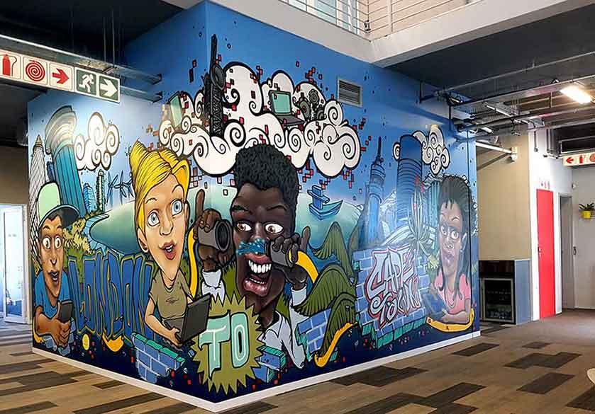 seacom office murals johannesburg