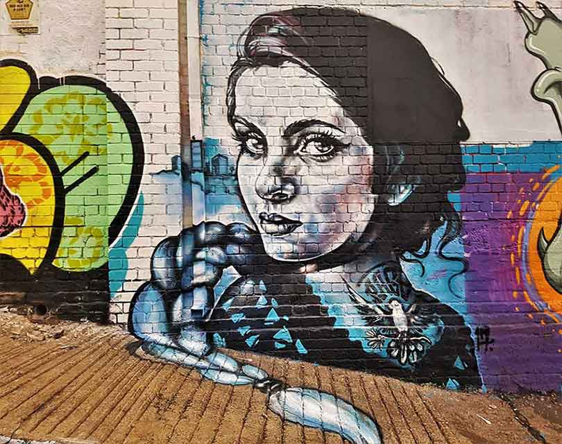street art mural black and white female portrait, beautiful girl with braided hair, platte going on the floor page 33 lady aiko