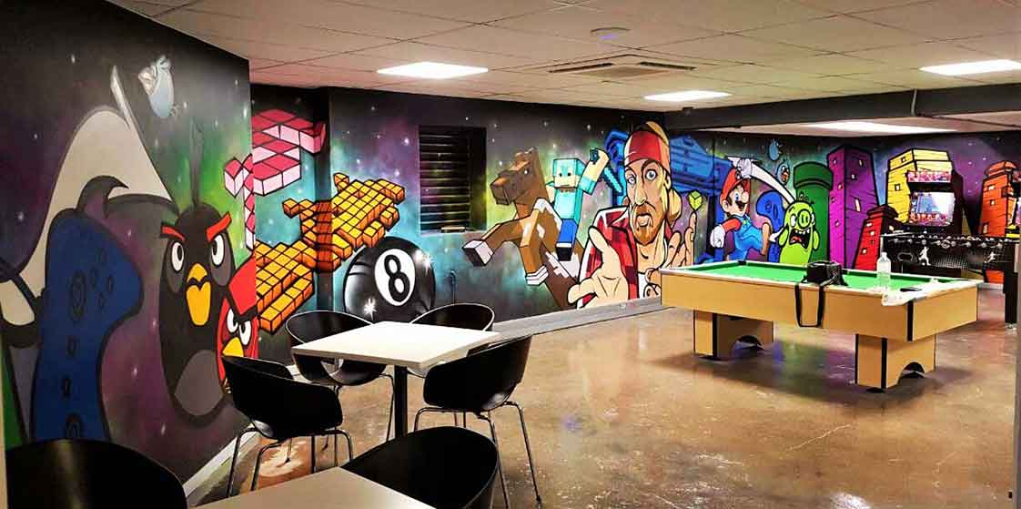 canteen wall art games room murals angry birds, gta, minecraft, space invaders, mario bros Dimension Data