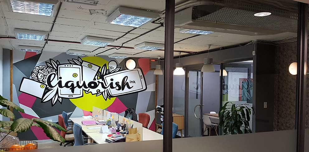 design mural in offices, creative agency, fun work spaces