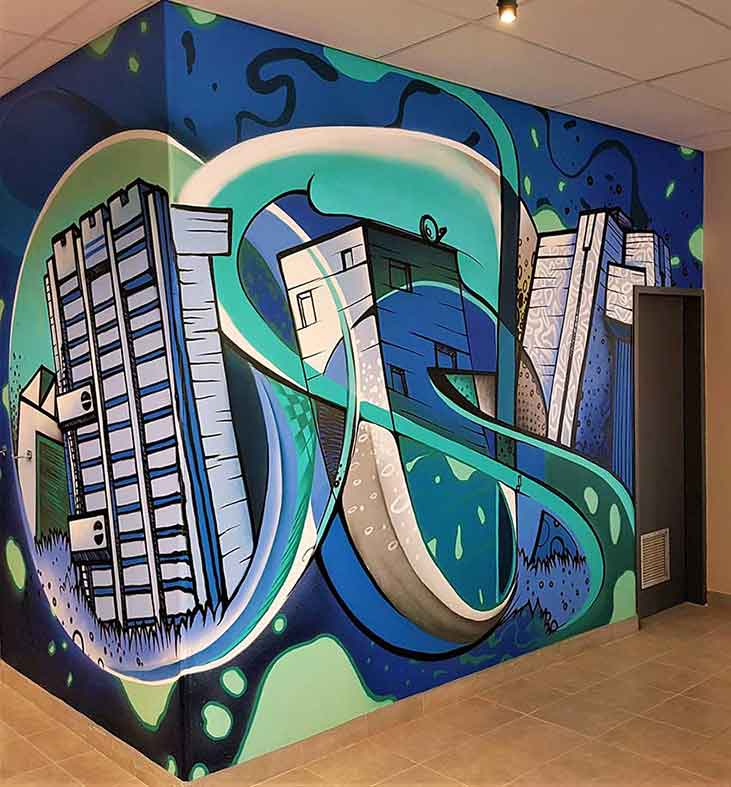 abstract graffiti mural inside a building, interior design decor