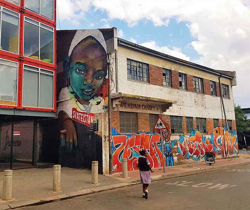 graffiti and street art murals in johannesburg outside Skateistan