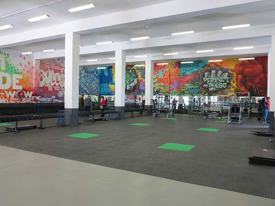 big gym graffiti murals, motivational wall art, fitness wall murals hands breaking through wall