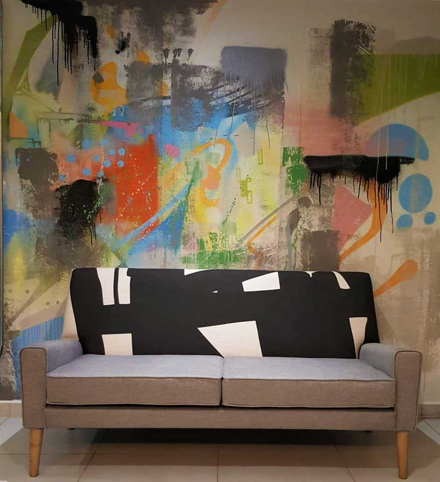abstract wall mural, fresh interior design