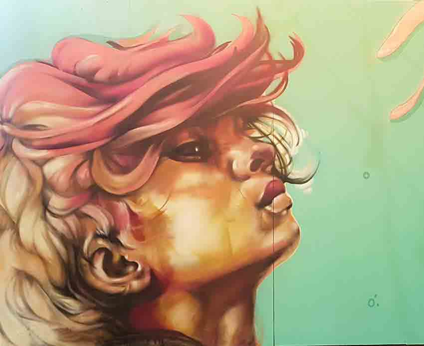 street art mural female portrait side view white and pink hair page33