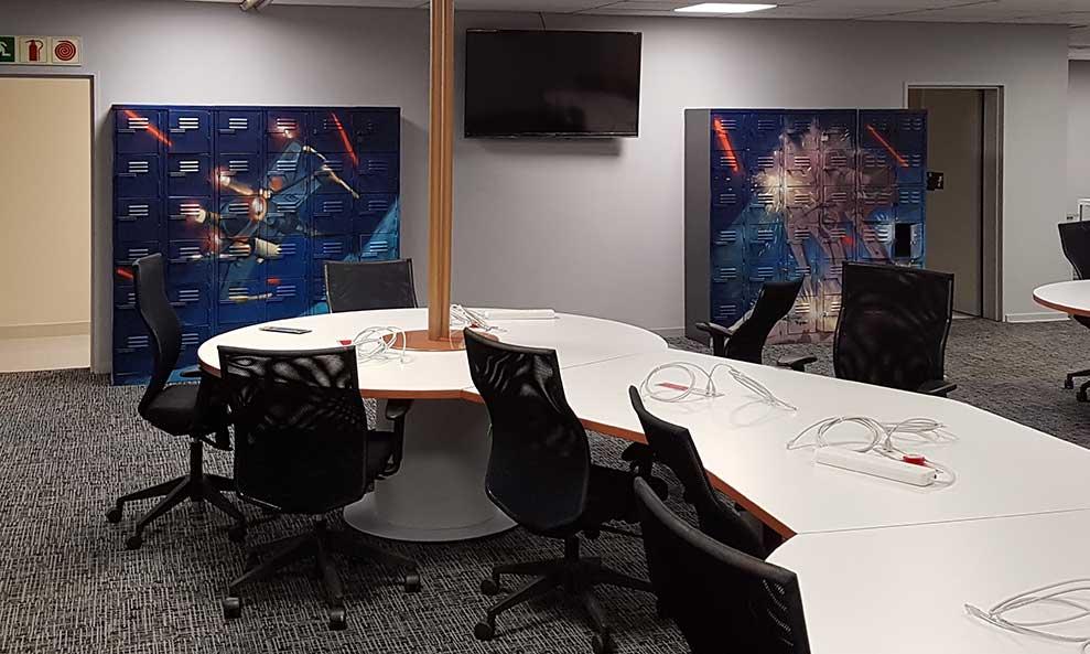 Starwars graffiti lockers at Dimension Data call center office decor