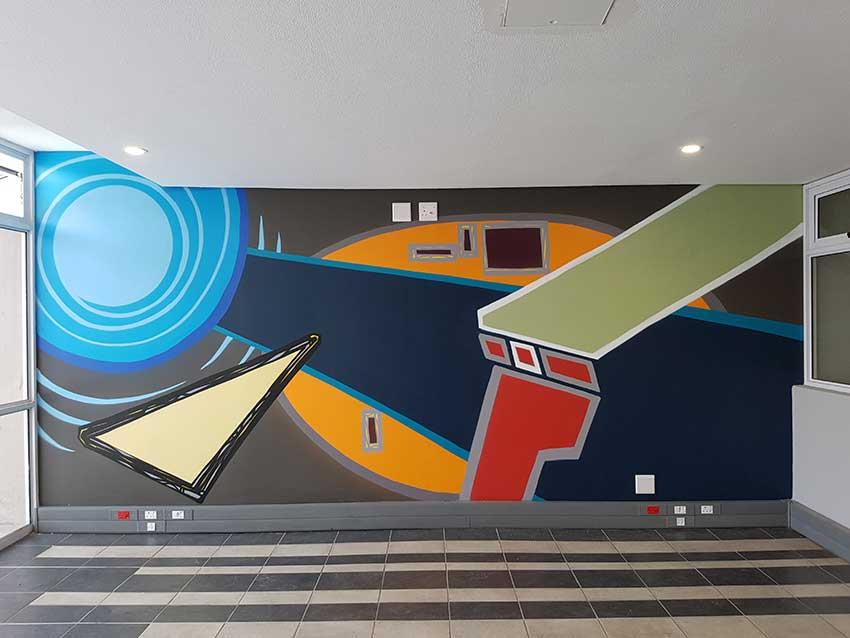 abstract mural art, interior design wall decor