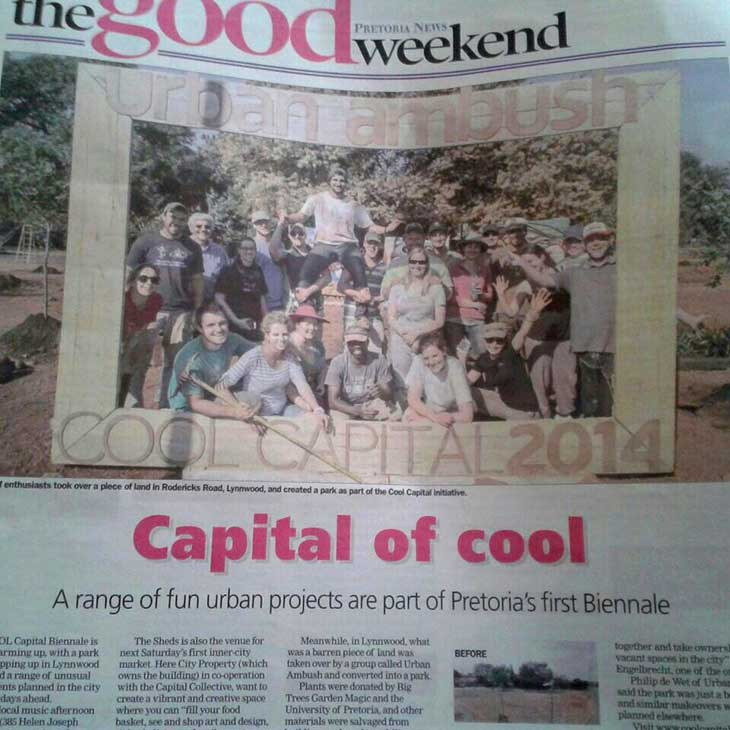 newspaper article on geurrilla gardening with capital cool and unity murals