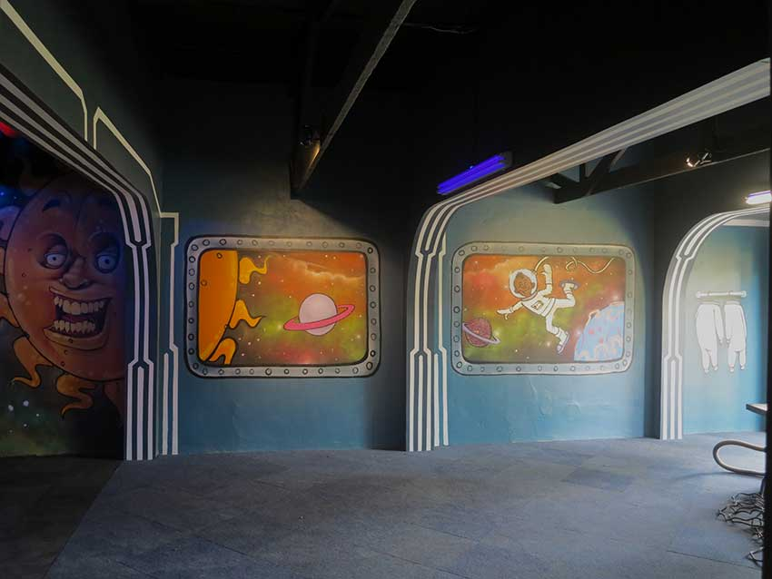 spacehip murals create illusion and transform space
