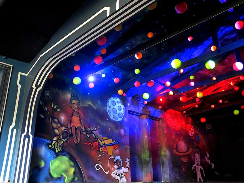 uv painted plantes suspended with wall murals space theme planets galaxy earth spaceships