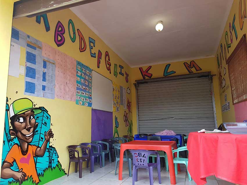 abc kids mural painted in classroom