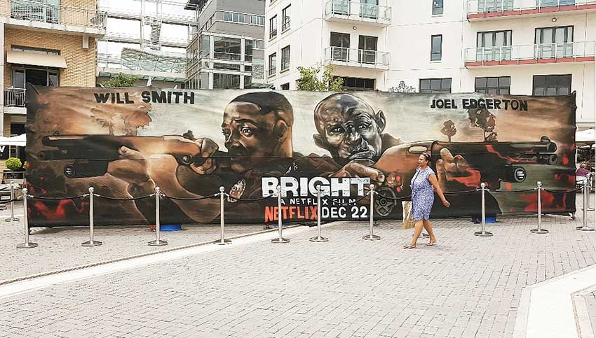 Netflix bright graffiti campaign installed at melrose arch shopping center