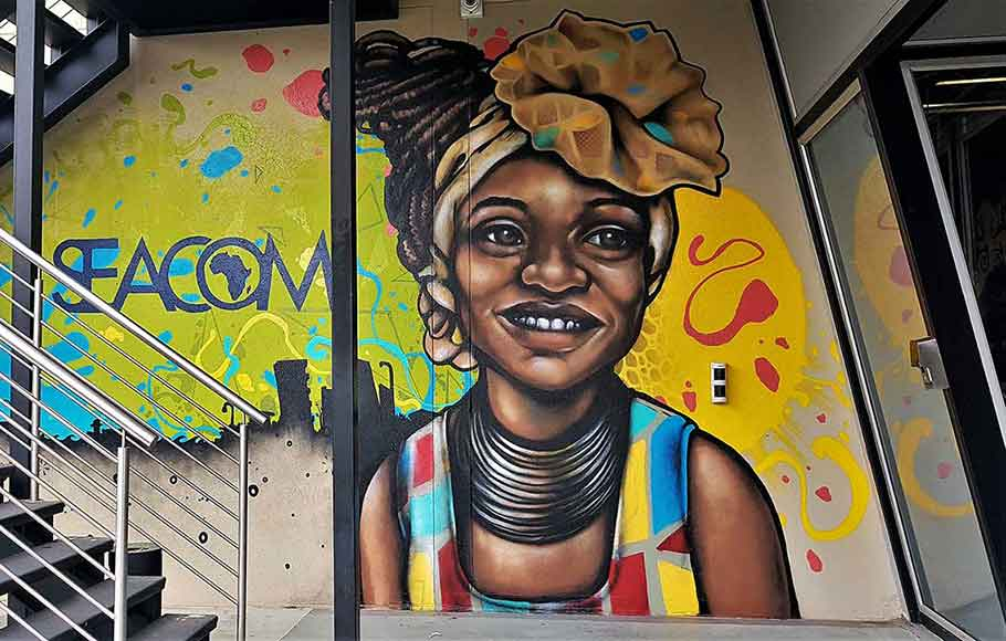 wall art mural painting at Seacom Johannesburg office smoking area, colorful painting African woman with traditional African clothing