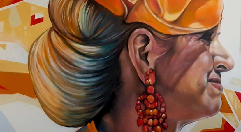 Queen Maxima painted by street art muur schilderij kunstenaar painted at the Teleport Hotel in The Hague