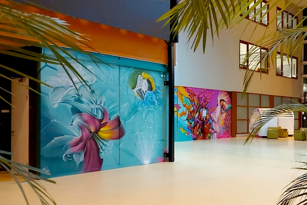 Street Art Mural painting inside a Tattoo Studio and Coffee Shop, street artists for hire