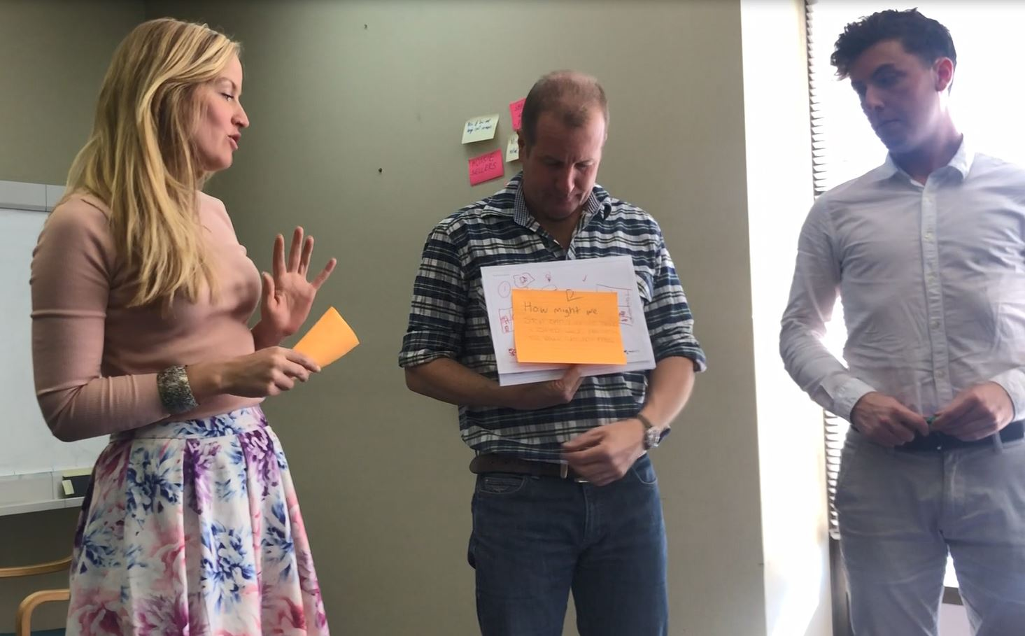 Clare Rutherford, Dave Lamb and Ashley Rootsey present their ideas.