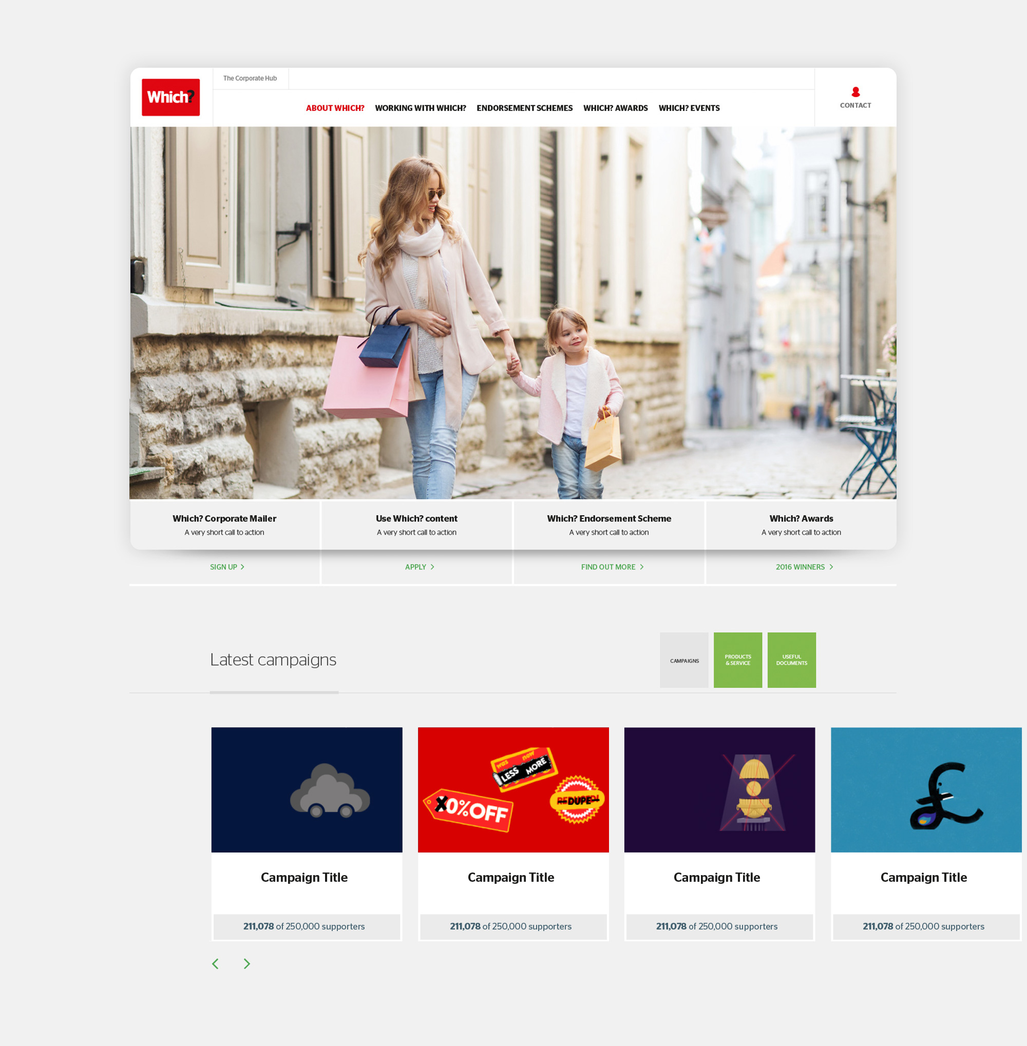 Which? home page website design for tablet