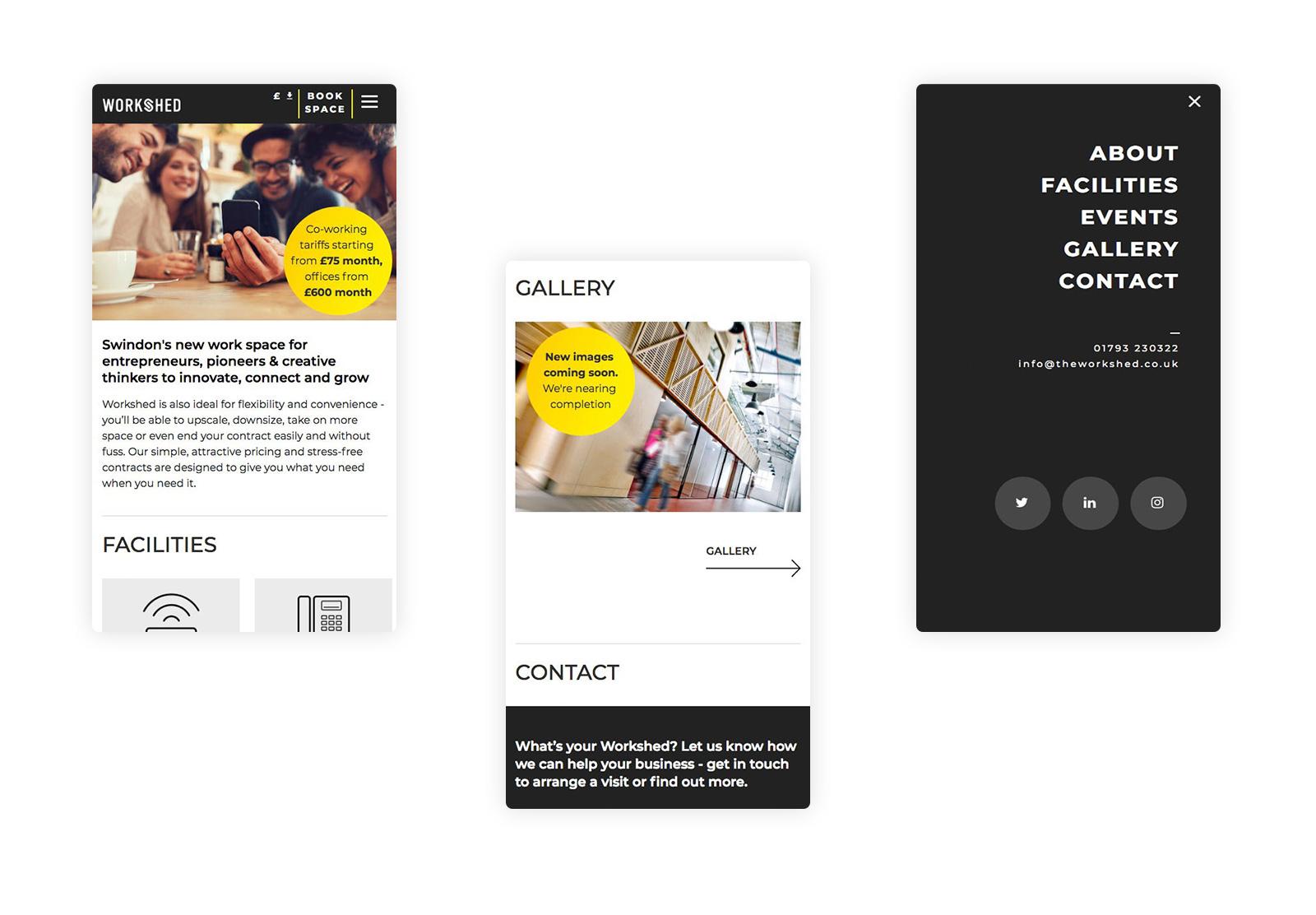 mobile website design for workshed in Swindon