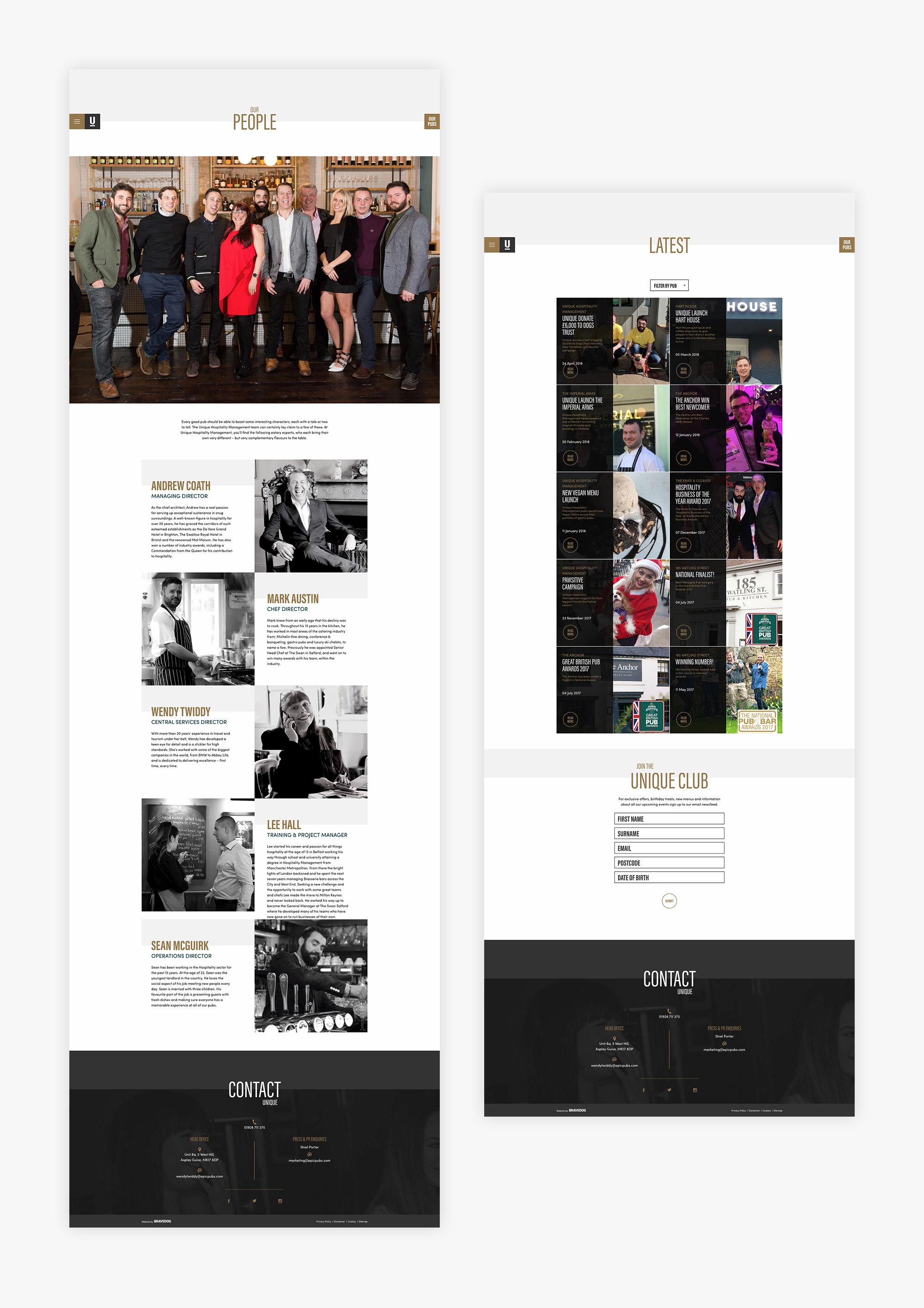 website design for Unique Hospitality Management and pub group