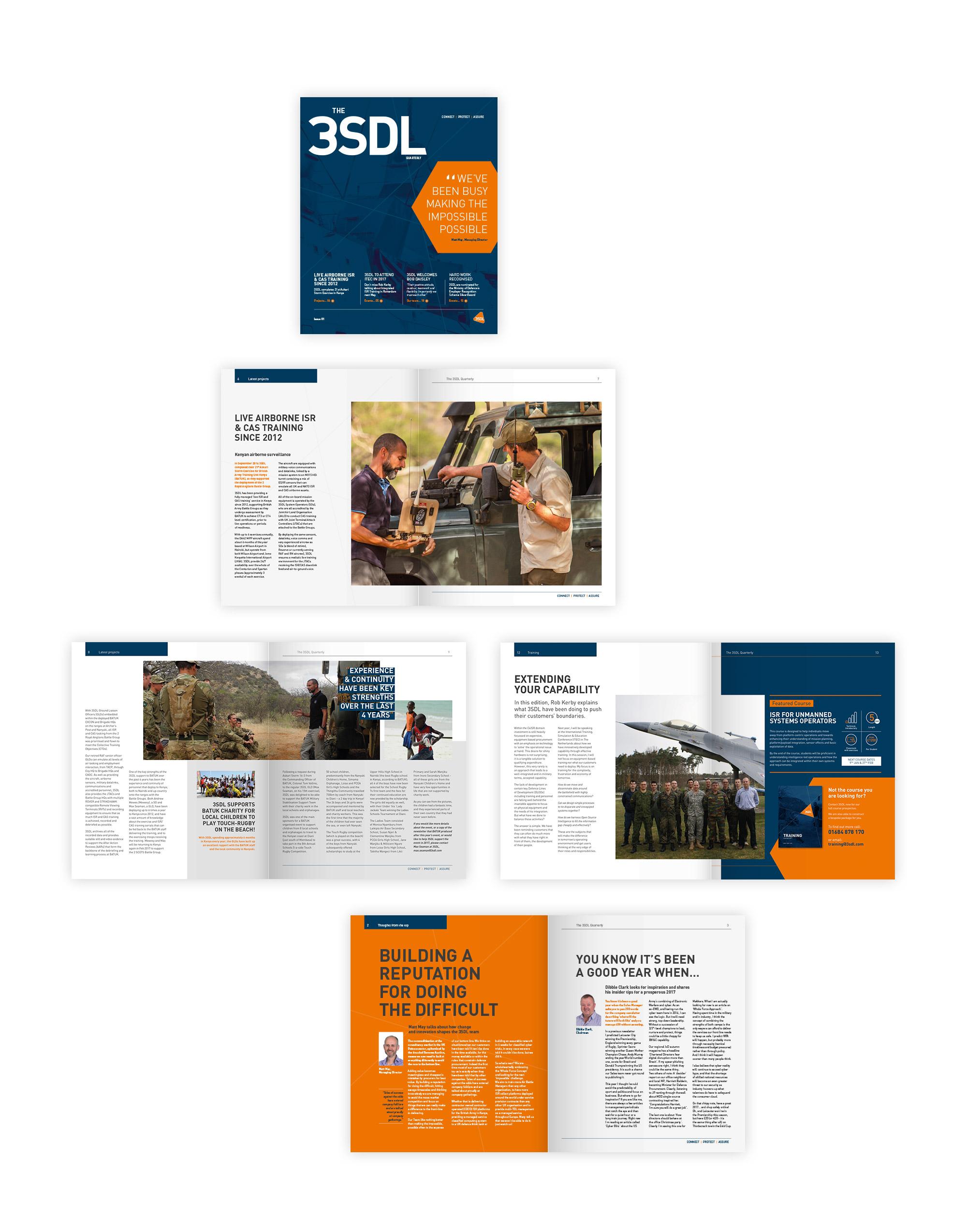 The 3SDL quarterly magazine and newsletter design
