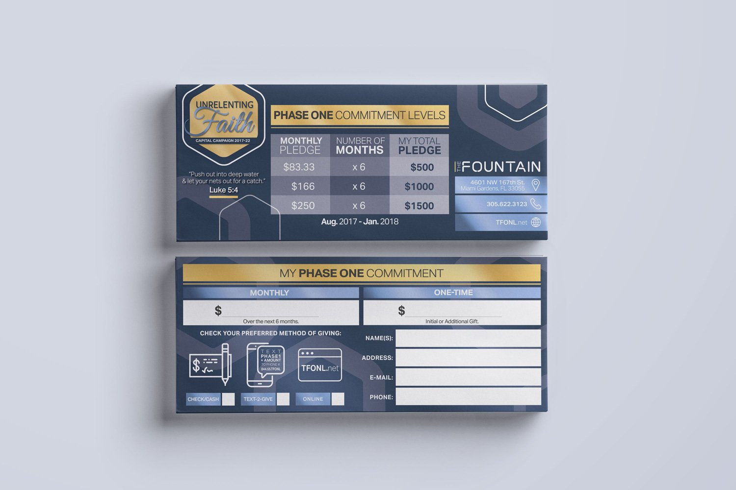 church capital campaign pledge cards design and commitment card printing