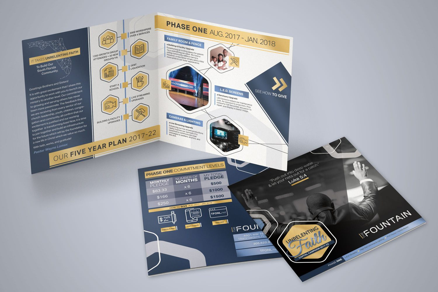 church half-fold brochures design marketing outreach ideas