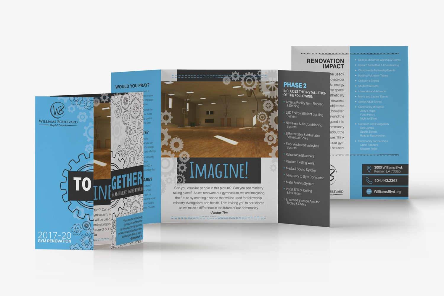 church marketing brochure open-gate fold design for outreach ideas
