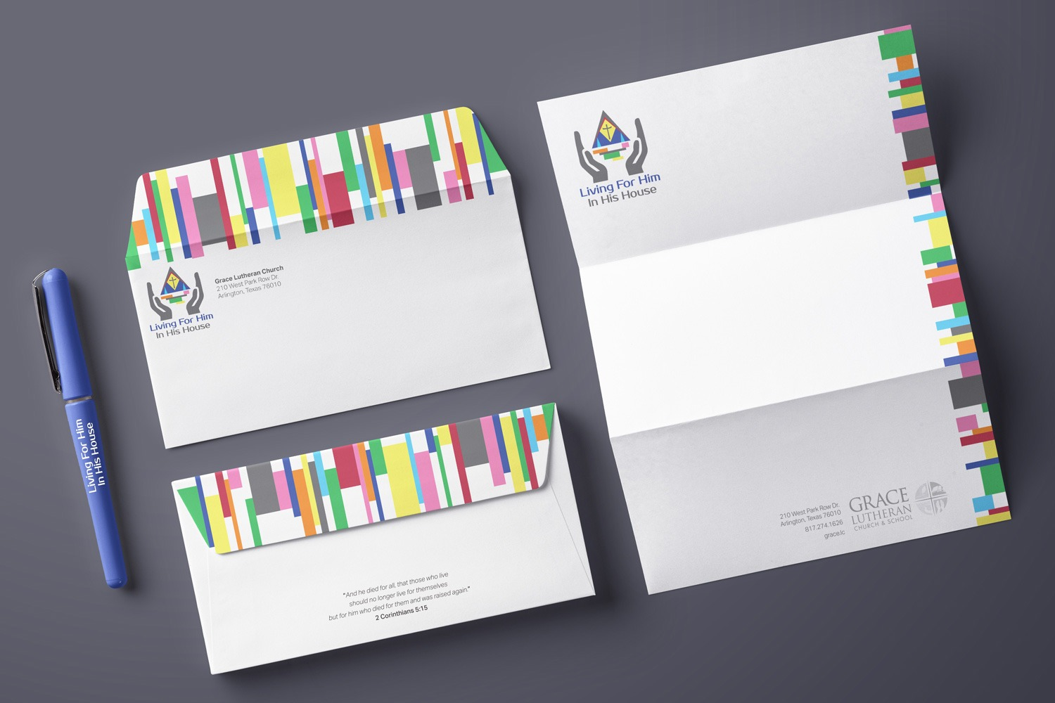 Church Stewardship Letterhead and envelope set design ideas for capital campaigns