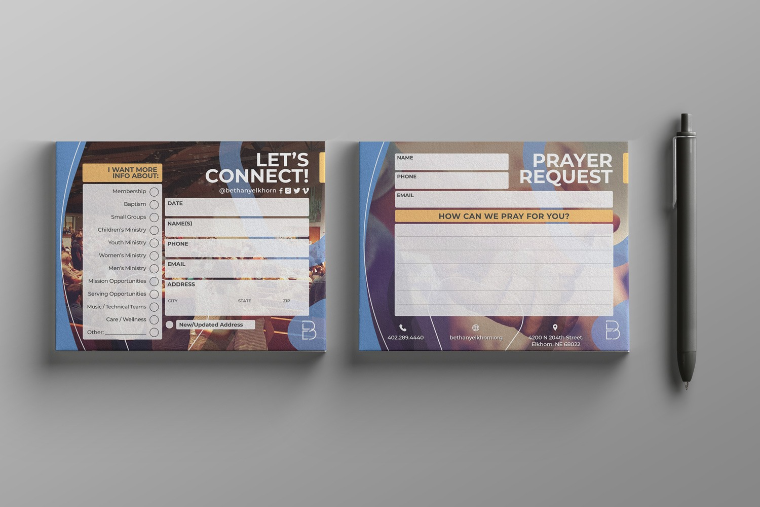 church connection card example for church branding guide ideas