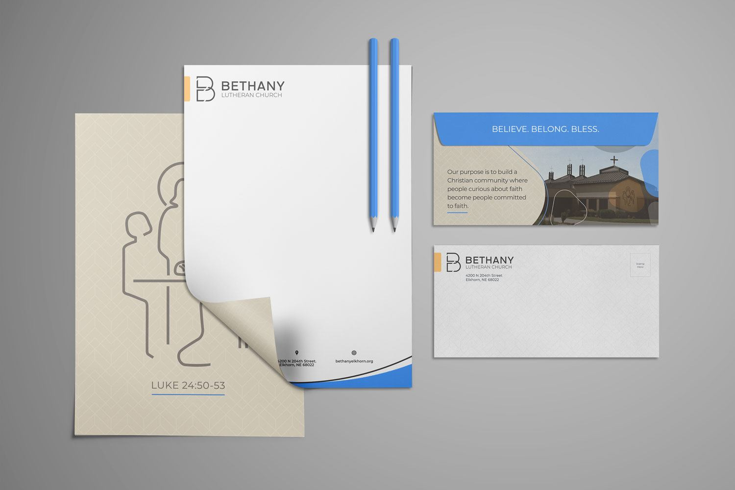 church letterhead & envelope set of church branding stationery design