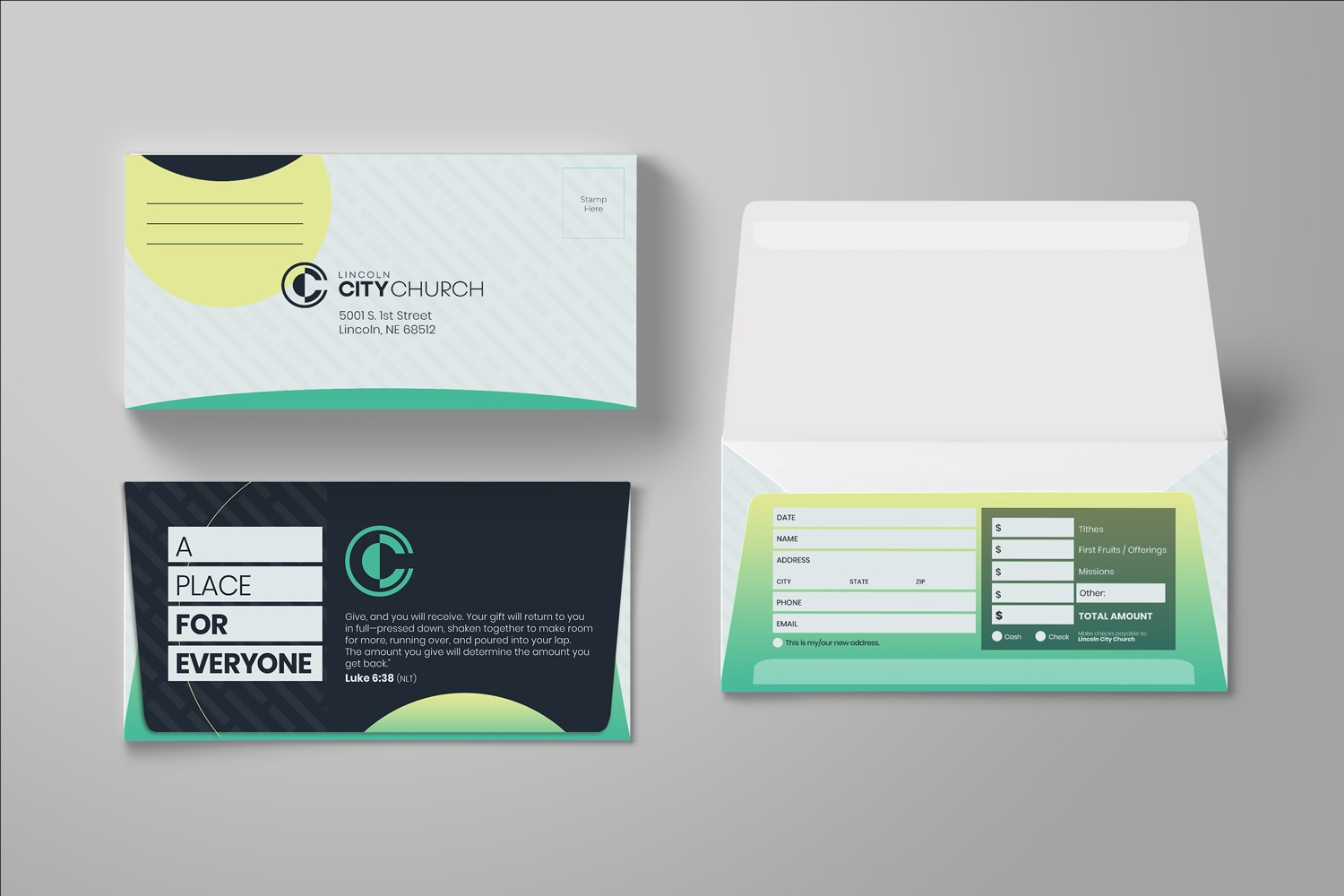 Custom church offering envelopes design for church branding, marketing, & outreach ideas