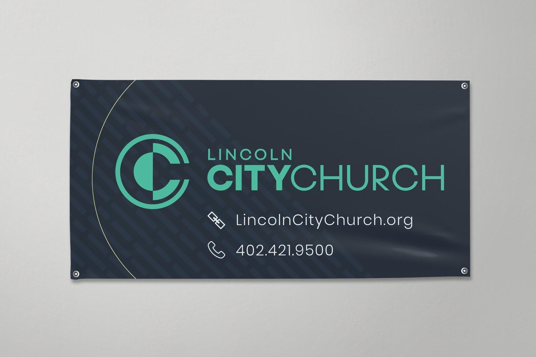 church vinyl banner design with church logo for  branding ideas