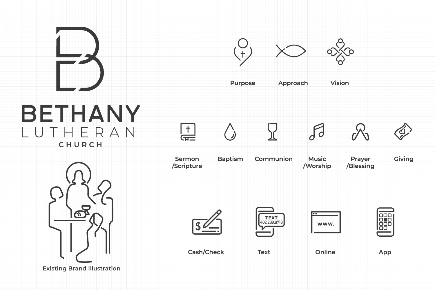 church branding iconography with modern church logo lutheran