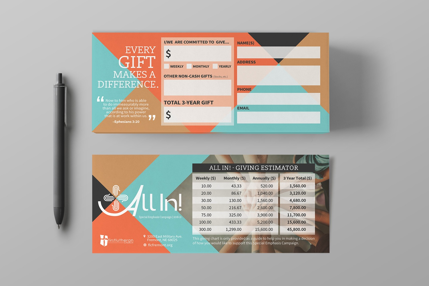 Church capital campaign pledge cards for commitment giving tiers examples
